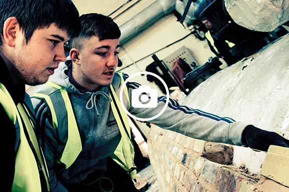 Bricklaying students work together on projects to gain communication and team-building skills.