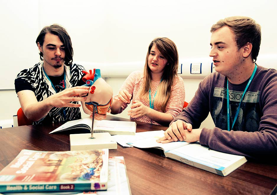 Health and social care students study a mix of theory and practical work in preparation for a potential career.